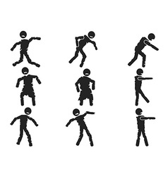 zombie stick figure set vector image