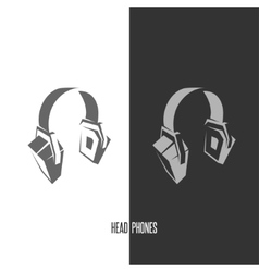 Headhphones abstract graphic sign vector image
