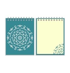 Spiral blue cover notebook with round ornate vector