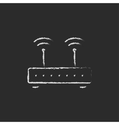 Wireless router drawn in chalk vector