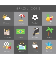 Flat icons brazil set vector