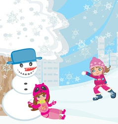 Fun in the snow vector