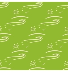 Seamless pattern with sun fnd road on green vector