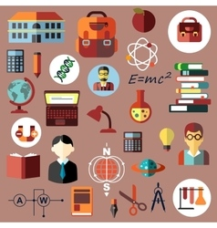 Education school and science flat icons vector