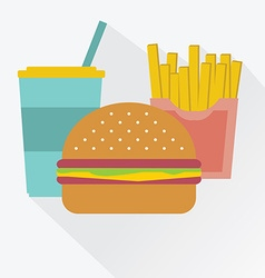 Cola a hamburger french fries junk food vector