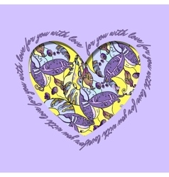 Love card violet yellow heart design with vector