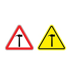 Warning sign attention hammer hazard yellow sign vector