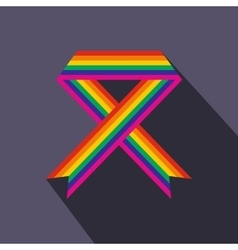 Rainbow ribbon flat icon vector