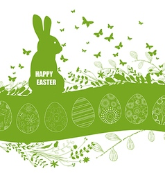 Easter background and rabbit in grass vector