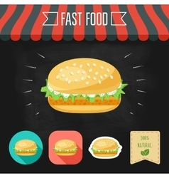 Fish burger icon on a chalkboard set of icons and vector