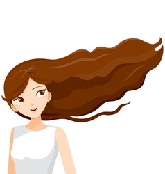 Young woman with long curly brown hair vector