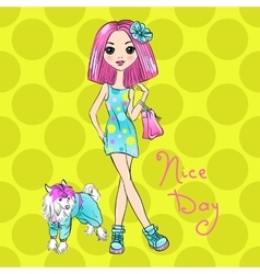 Pop Art cute fashion girl with dog vector image