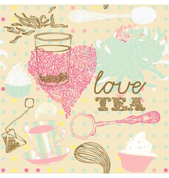 Love tea background vector