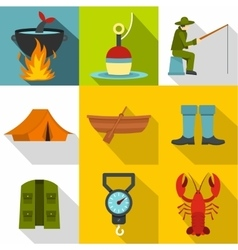 Angling icons set flat style vector
