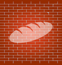 bread sign whitish icon on brick wall as vector image vector image