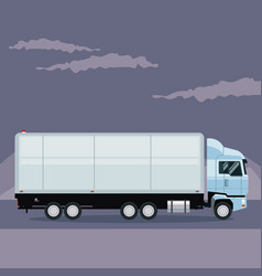 color poster mountain landscape with truck in the vector image vector image