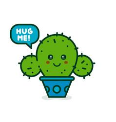 cute smiling happy cactus say hug me vector image