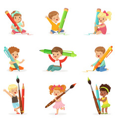 cute young children holding big pencils pens and vector image