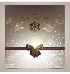 Elegant christmas background with brown bow vector
