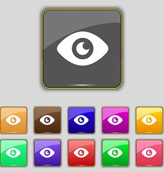 Eye publish content icon sign set with eleven vector
