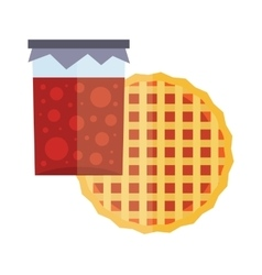 Fruity natural jar of jam and fruit pie cartoon vector