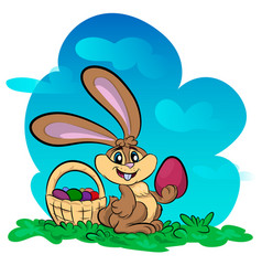 Funny bunny with big egg vector