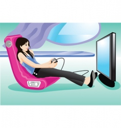 gamer girl vector image vector image