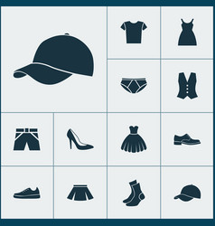 Garment icons set collection of waistcoat half vector