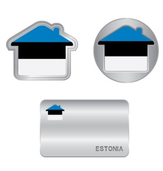 Home icon on the Estonia flag vector image vector image