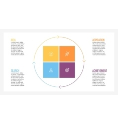 Infographic element square with 4 parts sections vector