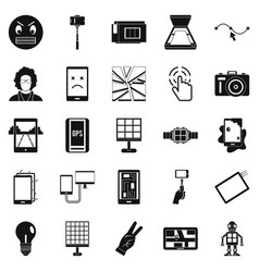 mobile monitor icons set simple style vector image