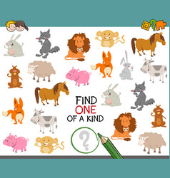 One of a kind with animals vector