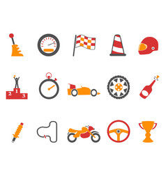 Orange race icons set vector