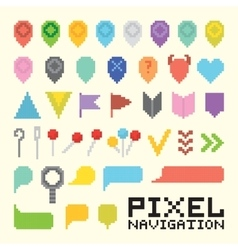 Pixel art isolated navigation icon set vector image