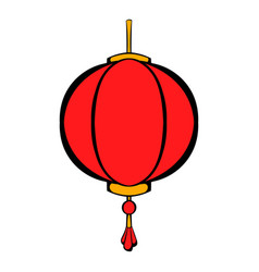 Red chinese lantern icon cartoon vector