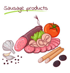 sausage products and vegetables vector image vector image