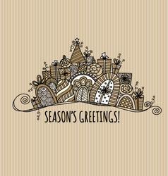 Seasons Greetings Christmas Banner Doodle vector image vector image