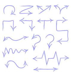 Set of blue watercolor pointers arrows vector