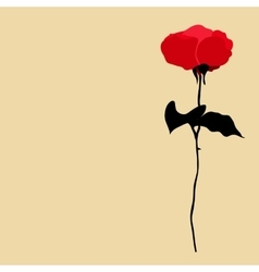 silhouette of red rose on beige background vector image vector image