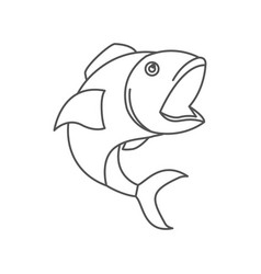 Sketch silhouette of open mouth fish vector