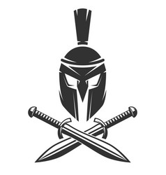 spartan helmet with crossed swords vector image