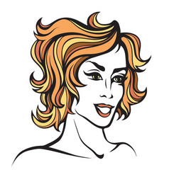 Stylized portrait of cartoon pretty fashion girl vector
