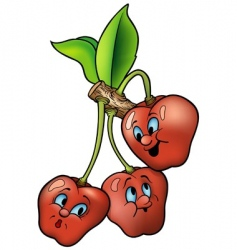 three smiling cherries vector image vector image
