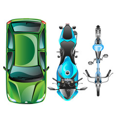top view of different transportation vector image vector image