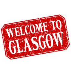 Welcome to glasgow red square grunge stamp vector