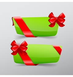 041 collection of green tag banner with red ribbon vector