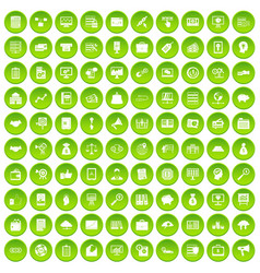 100 business process icons set green circle vector