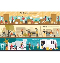 Air travel paris explore flat interior outdoor vector
