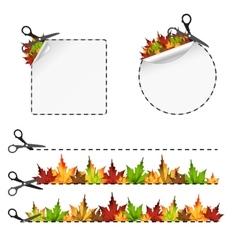 Sscissors cut sticker autumn leaf vector