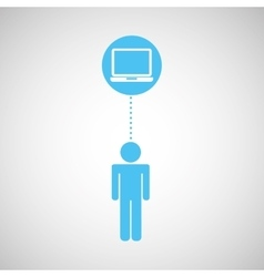 Blue silhouette man laptop social network design vector